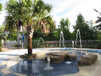 Splash pad in the children's garden.