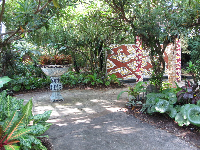 Mosaic wall in the garden.