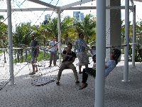 People relax on the swinging chairs.
