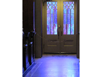 Door with purple stained glass.