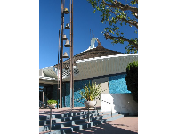 The Scientology Church, with tiny blue glass tiles that sparkle in the light. Kids will enjoy looking at these!