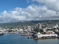 Looking toward Honolulu Harbor.