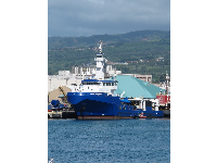 Bright blue Hawaii Responder ship.