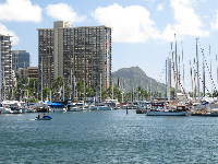 Magic Island affords gorgeous views of Diamond Head and the rainbow tower at Hilton Hawaiian Village.