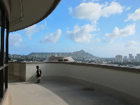 View of Diamond Head from the top of the round dorms.