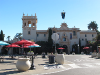 Looking across the plaza toward the House of Hospitality.