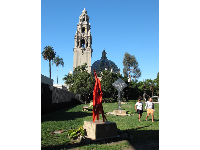 Sculpture garden with modern art, and California Tower behind.
