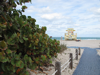 The path leading to the beach, with yellow lifeguard shack in the distance.