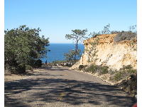 The road that leads from the beach to the hiking area.
