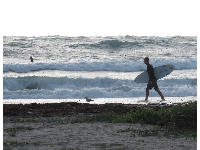 Surfers frequently come to Jupiter Inlet.