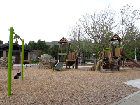 The playground, rope climbey, and swings.