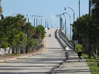 The attractive causeway that leads from the town to the beach.