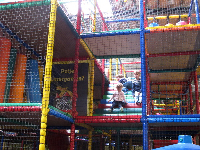 The three-storey mesh play structure is pretty amazing for kids!