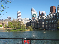 View of modern architecture behind Binnenhof.