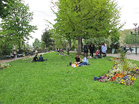 Square du Vert-Galant is a triangular park with flower beds, benches, plenty of shady trees, and cute people.