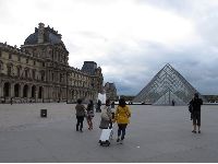 The wide open spaces in front of the Louvre.