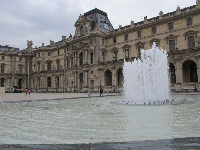 The fountain beside the Louvre Pyramid.