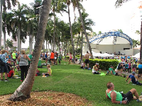 People resting at the amphitheater after the West Palm Beach Marathon.