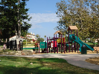 The colorful playground and beautiful trees!