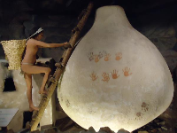 Lifesize diorama of the Olla Cave Cliff Dwelling, named after the jar-shaped granary.