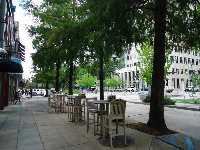 Sidewalk cafe near the Old State Capitol.