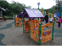 The colorful playground near the bandstand.