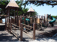 The playground has plenty of different places to explore.