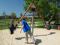 The pyramid-style seesaw that spins around.