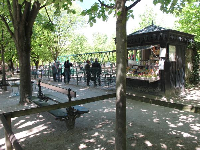 Snack stand and swings.