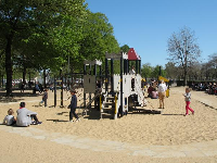 The castle playground for toddlers, and the sand beneath.