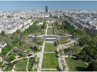 Champ de Mars, as seen from the first level of the Eiffel Tower.