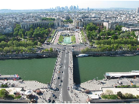 View of the Trocadero neighborhood, north of the Eiffel Tower.
