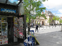 News stand near the RER station.