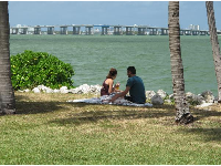 A couple and dog picnic with views of the causeway.