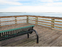 Bench at the end of the pier.