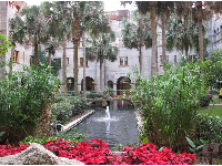 The fountain in the inner courtyard of the Lightner Museum building.