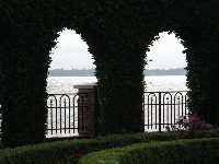 Looking through the hedge arches to the intracoastal.