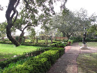 The garden, with statue of Diana of the Hunt.
