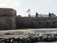 Fort Clinch and its flag and cannons.