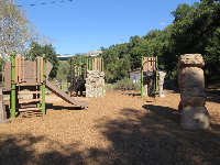 Rock arch and other play equipment.