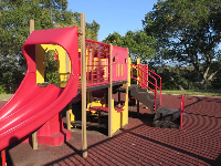 The red and yellow playground for toddlers.