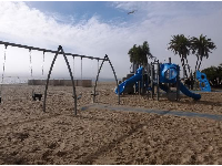 Swings in the sand.