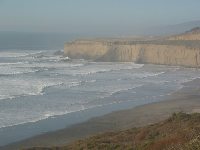 View from a lookout on the way to San Gregorio Beach, when coming from the north.
