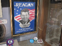 Campaign poster and pins.