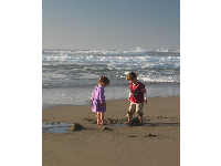 Two children play in the sand on a perfect February day at San Gregorio Beach.