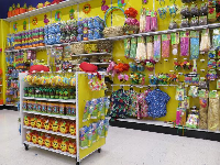 The colorful, fun interior of Party City.