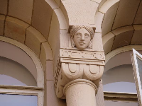 Details atop a column of Powell Library.
