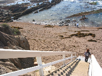 Steps leading down to the pools.