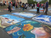 Beautiful vivid chalk paintings.