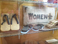 Wooden slippers from the Manzanar camp.